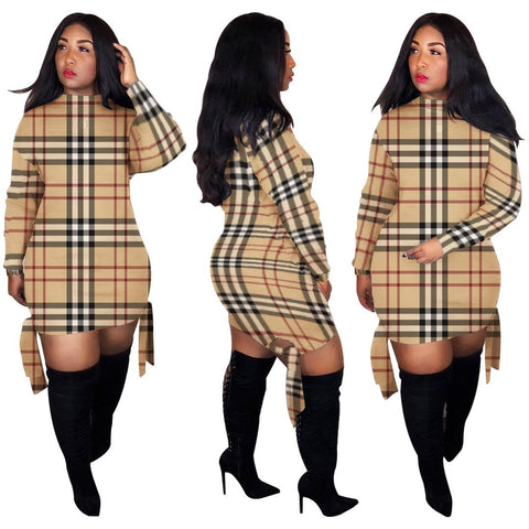 Heysweeta Plaid Printing Women Mini Dress