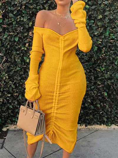 Heysweeta 2020 Autumn dress Knitting Dress Midi Dress US Women Dress( Flash sale ended.)