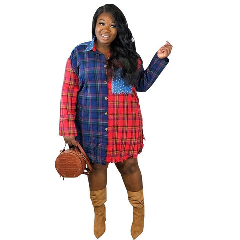 Heysweeta women Checked Shirt Causal Shirt Plus size Shirt
