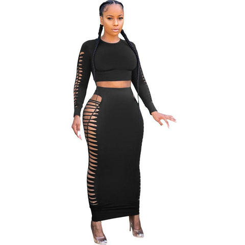 Heysweeta hollow Out Women Midi Dress two Pieces Midi Dree Crop Tops and Midi Skirt Two PIeces Dress