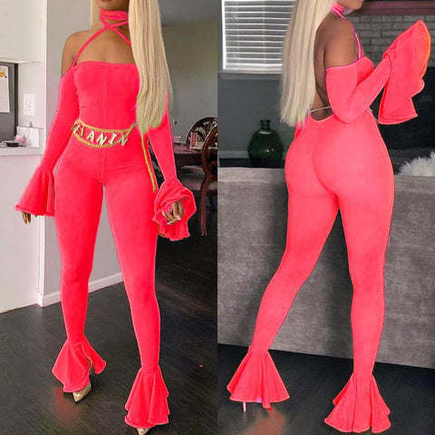 Heysweeta Halter Bandage Women Sexy Jumpsuit with Flare Sleeves