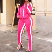 Heysweeta Cold Shoulder Tops and Zipper Split Pants Sweatsuit Set