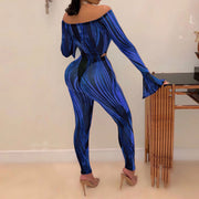 Heysweeta Striped See-through Romper and Pants Two Pieces Set
