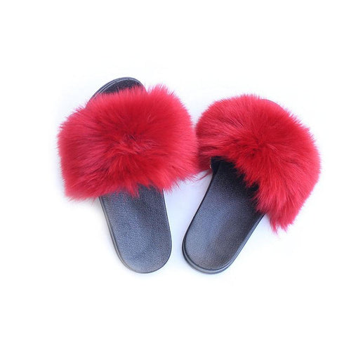Heysweeta 2020 Furry Slippers Women Flip-flops