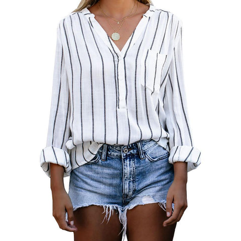 Heysweeta Striped Shirt Women Shirt Daily Shirt Premium Shirt