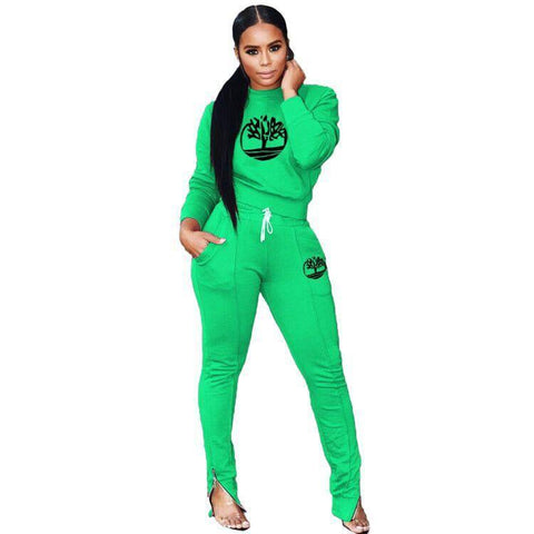 Heysweeta Offset Printing Women Outfits with Pants Decorated by Zippers