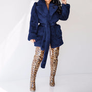 Heysweeta Artificial Fur Women Outerwear Coat