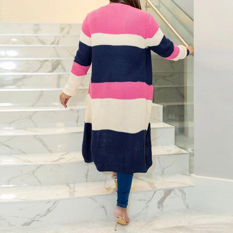 Heysweeta Multicolor Striped Women Open Front Cardigan