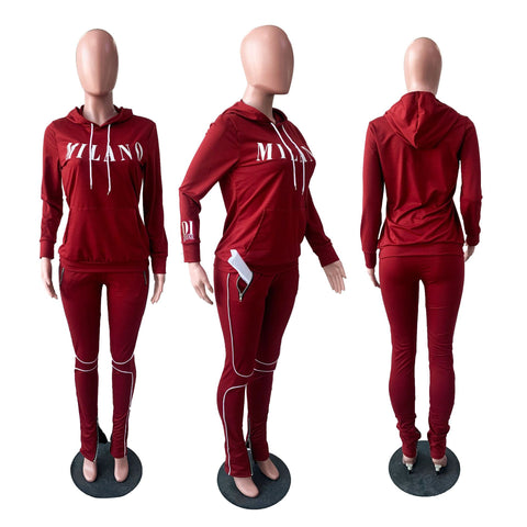 Heysweeta 2020 Autumn Women Hoodie and String Pants Two Pieces Sweatsuit Autumn Outfit Winter Outfit