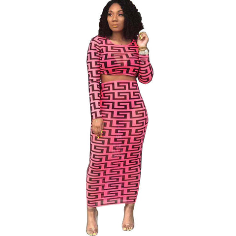 Heysweeta Printing Two pIeces Women Skirt Set Two Pieces Midi Dress