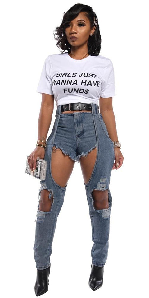 Heysweeta  Denim Shorts Broken Holes Women Jeans