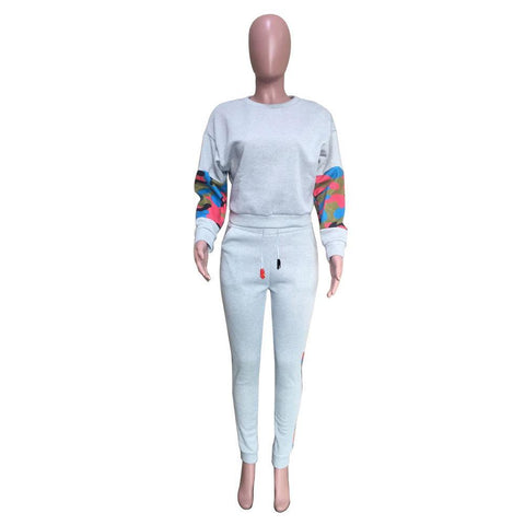 Heysweeta Striped Patchwork Two Pieces Women Sweatsuit