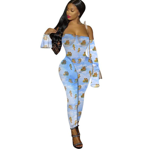 Heysweeta Slash Neck Women Jumpsuit Night Blub Jumpsuit