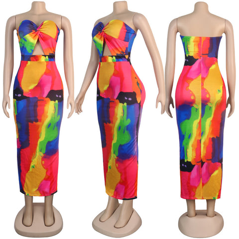 Heysweeta Strapless Women Midi Dress Women Printing Dress