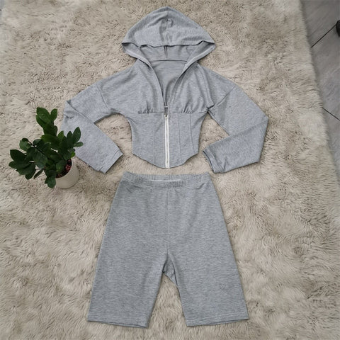 Heysweeta Short Hoodie and Shorts Outfit