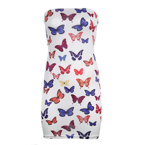Heysweeta Women Off the Shoulder Butterfly Printing Mini Dress