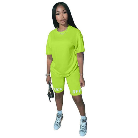 Heysweeta Letters Fashion Women t-shirt and Shorts Set