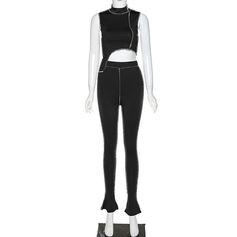 Heysweeta Crop Tops Irregular Tops and Women Pants Two pieces Outfits