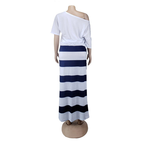 Heysweeta Slash Neck T-shirt and Striped Pencil Skirt