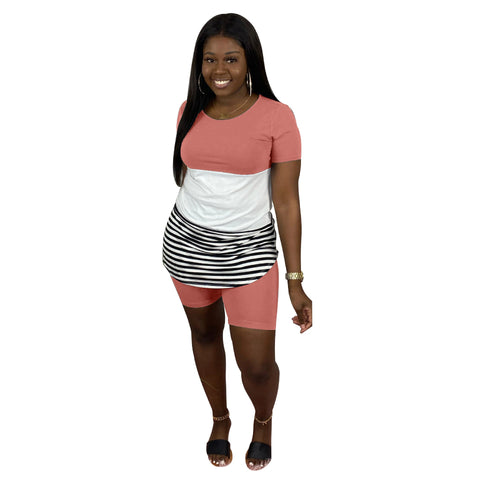 Heysweeta Striped and Patchwork Women T-shirts and Shorts Set