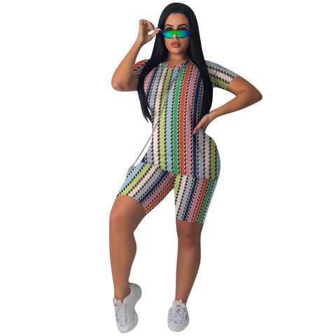 Heysweeta 2020 Multicolor Printing Women T-shirt and Shorts Set