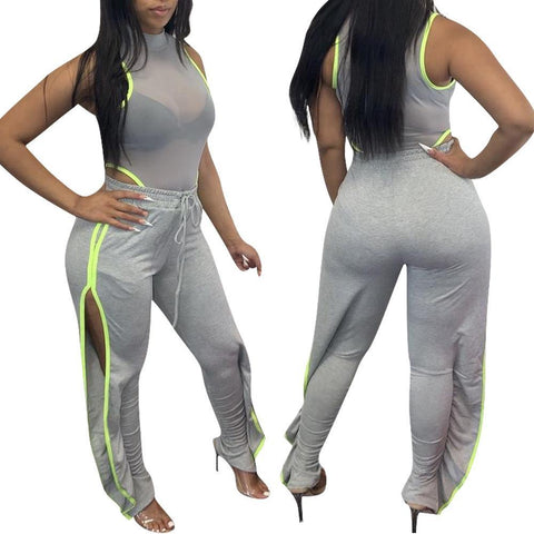 Heysweeta 2020 Split Sweat Pants Women Pants