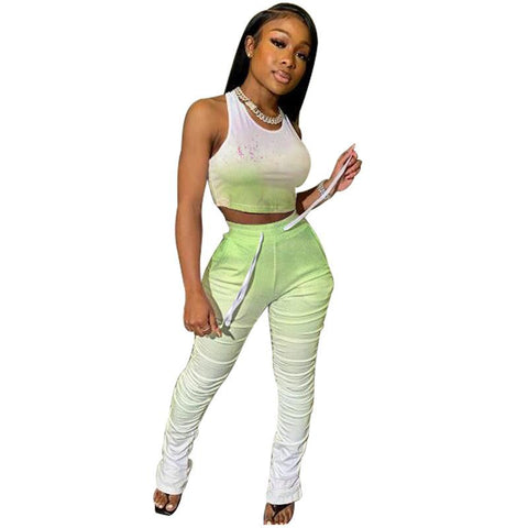 Heysweeta Gradient Printing Crop Tops and Folded Pants Outfits
