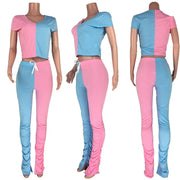 Heysweeta Crop Tops and Sweat Pants Women Outfit