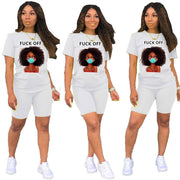 Heysweeta Seasonal Printing Women T-shirt and Shorts Set
