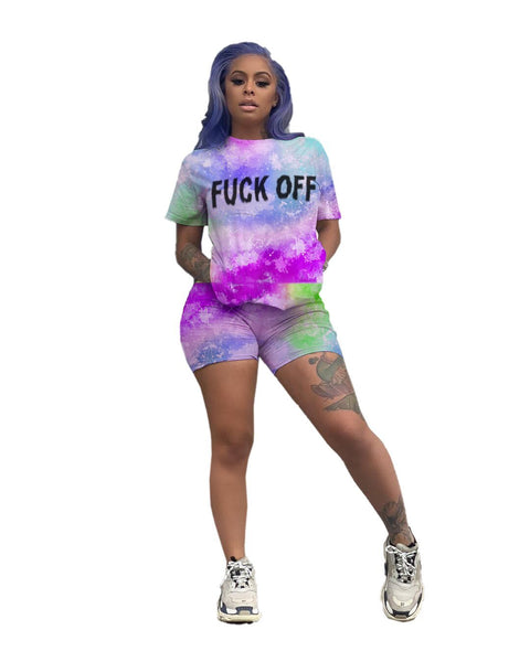 Heysweeta Multicolor Letters Printing Women T-shrit and Shorts Set