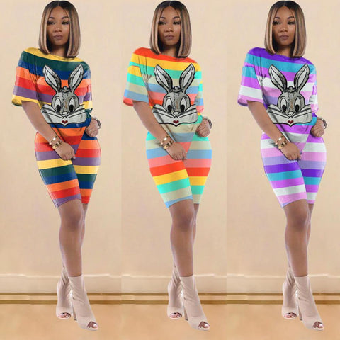Heysweeta Sequined Rabbits Decorated Women T-shirts and Shorts Set