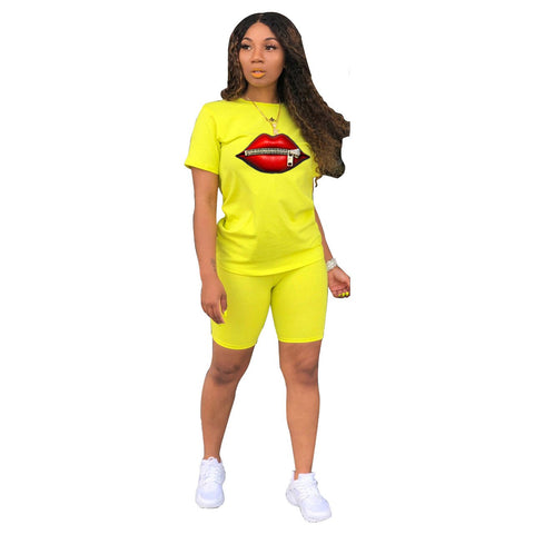Heysweeta Lips Printing Women T-shirt and Shorts Set