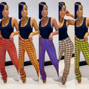 Heysweeta 2020 Plaid Pants Women Plaid Pants