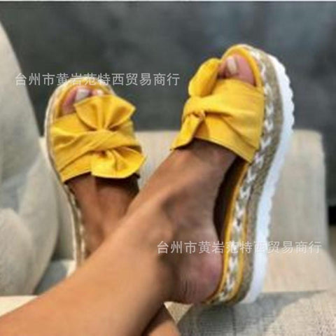 Heysweeta  Women Sandals Slippers Bowknot Decorated Women Slippers