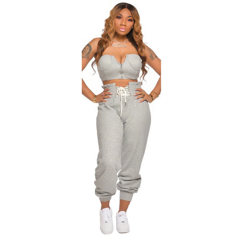 Heysweeta Chest Wrap and Sweat Pants Two Pieces Outfit