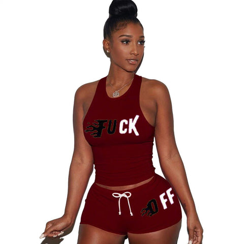 Heysweeta Women Vest and Shorts Set Two Pieces Outfits