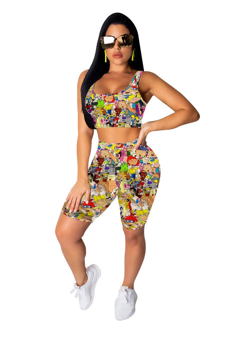 Heysweeta Women Vest Women Crop Tanks And Shorts Two Pieces Outfits