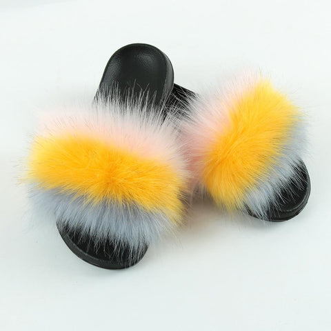 Heysweeta  2020 Furry Slippers Women Sandals
