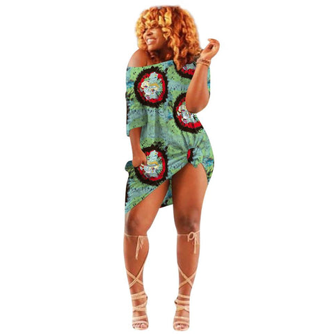 Heysweeta Multicolor Printing Women T-shirt Dress
