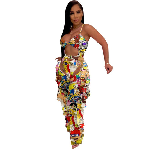 Heysweeta Sexy Rompers and Hollow Out Pants Two Pieces Outfit