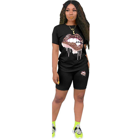 Heysweeta Sequined Lips Decorated Women T-shirt and Shorts Set