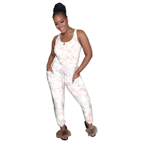 Heysweeta Tie-dye Women One Piece Jumpsuit