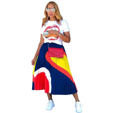 Heysweeta  Big Month Printing women T-shirt and Pleated Skirt Two Pieces Skirt Set Dresses