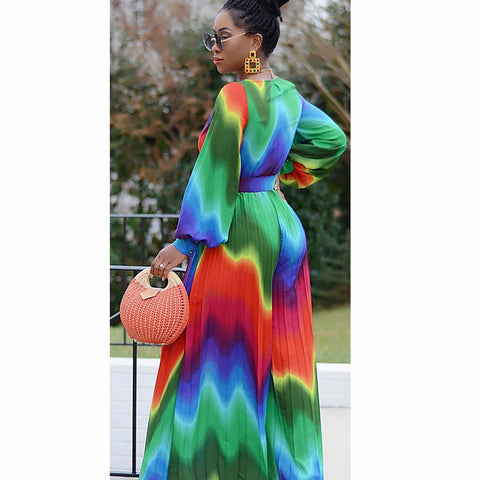 Heysweeta 2020 Printing Fashion Dress Maxi Dress