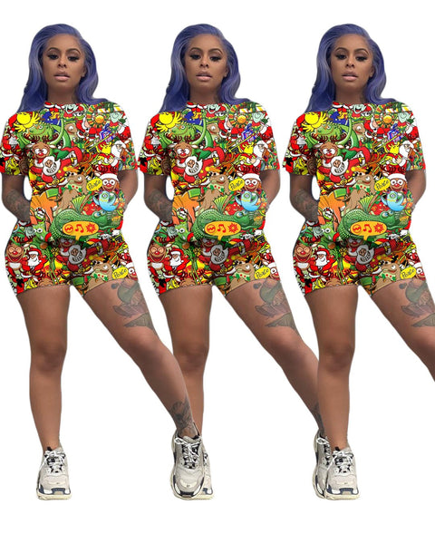 Heysweeta Fashion Printing Women T-shirt and Shorts Set