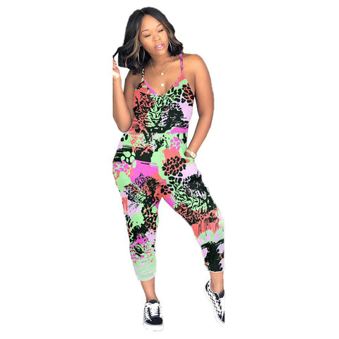 Heysweeta Multicolor Cheetah Printing Leopard Printing Women One Piece Slip Jumpsuit