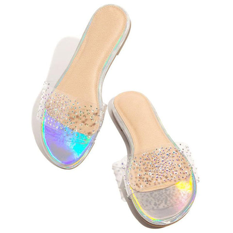 Heysweeta Women Slippers Women Sandals See-through Slippers