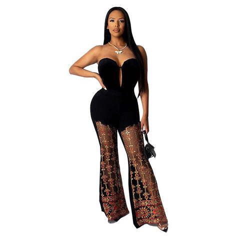 Heysweeta 2020 Wide Leg Women Pants Mesh Patchwork Pants