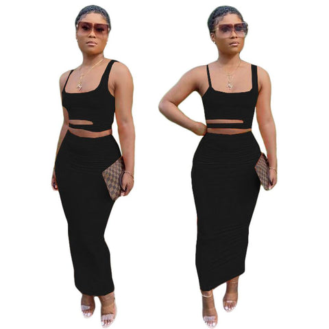 Heysweeta Two Pieces Midi Dress Crop Tops and Midi Skirt Two Pieces Dress