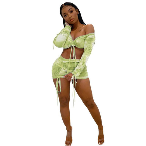 Heysweeta  2020 Summer Chest Warp Crop Tops and Bandage Mini Skirt Two Pieces Dress